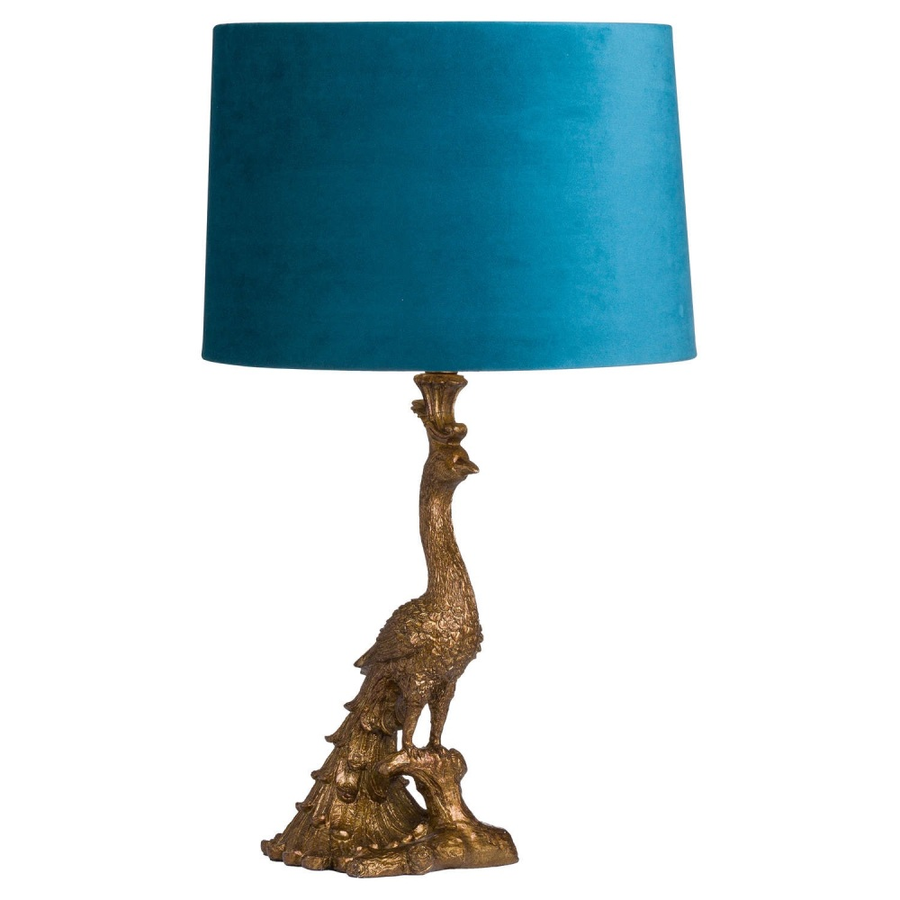 Antique Teal & Gold Peacock Table Lamp