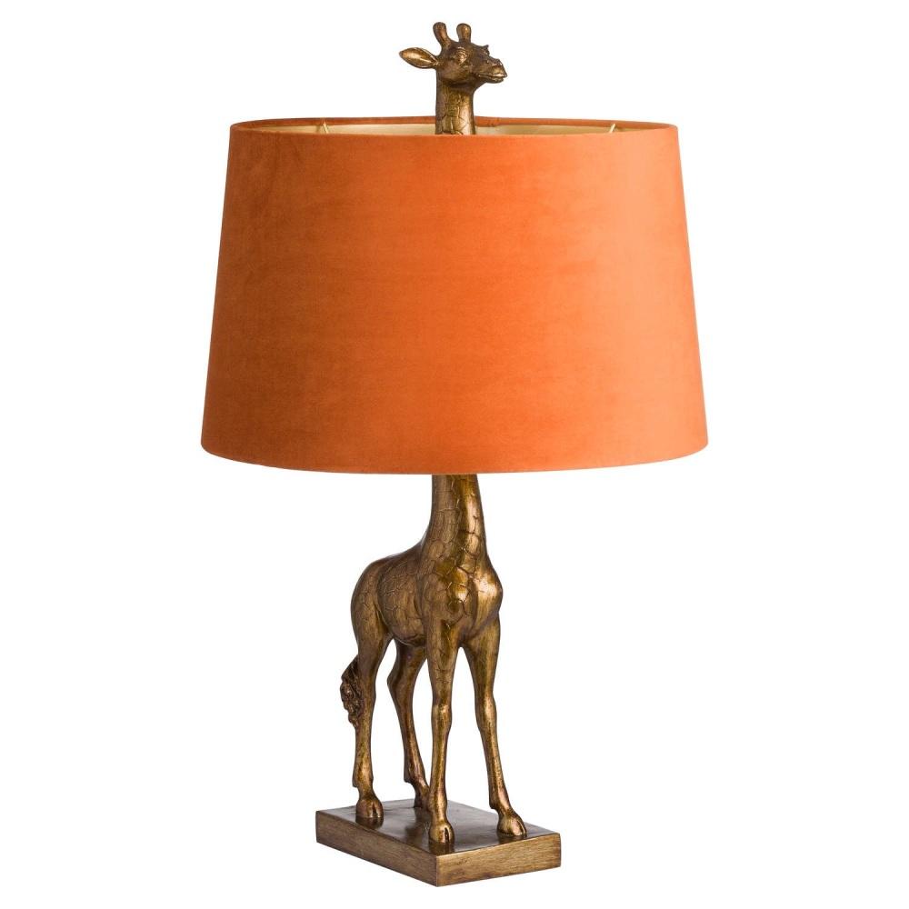 Antique Burnt Orange & Gold Giraffe Table Lamp