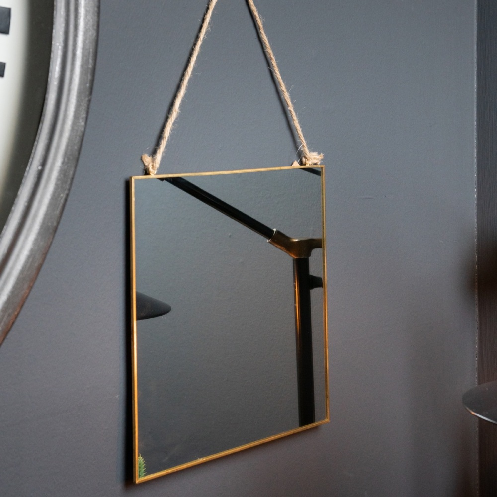 Simple Square Gold Hanging Mirror