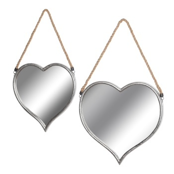 Set Of Two Heart Hanging Mirrors