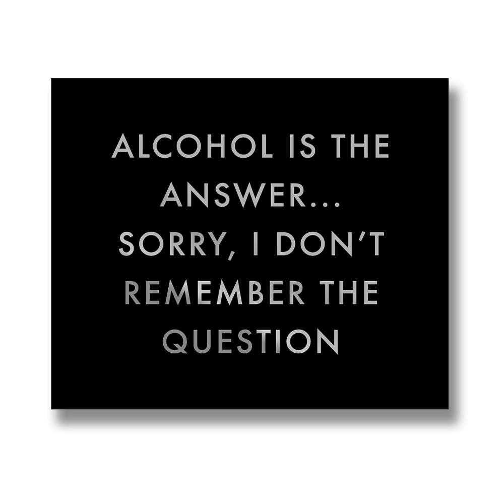 Alcohol Is The Answer Plaque