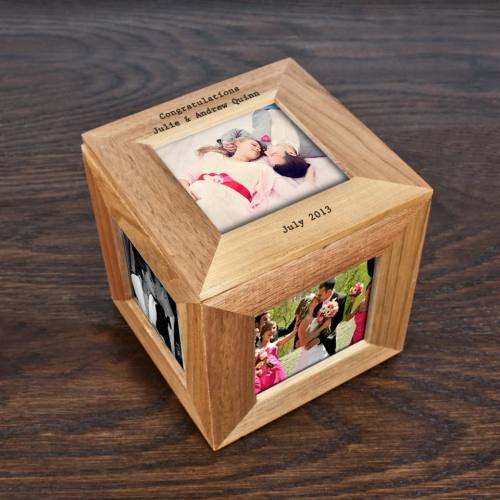 Oak Photo Cube Keepsake Box