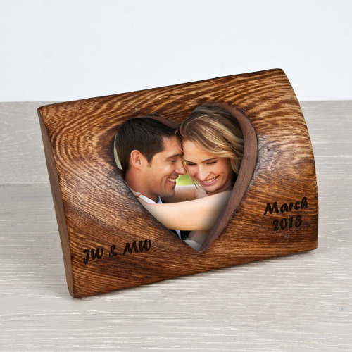 Wooden Rounded Heart Photo Frame
