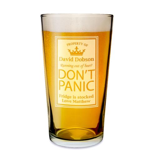 Don't Panic Pint Glass