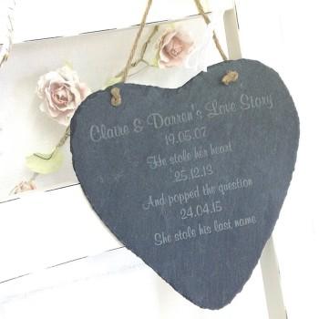 Love Story Slate Heart