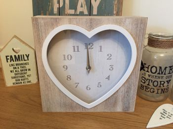 Heart Clock - Limed Wood