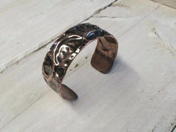 Bracelet - Copper - Air Chased Heavy Copper Cuff