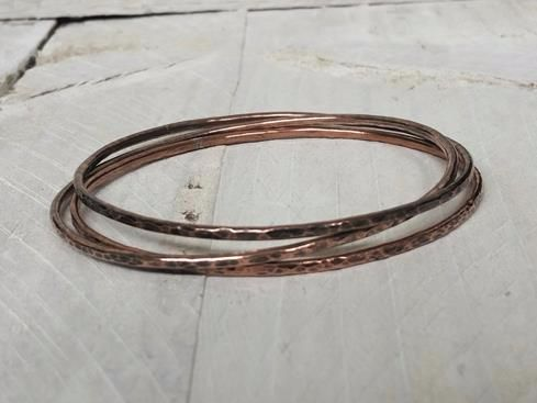 Copper Slim Stacking Bangle set of 3