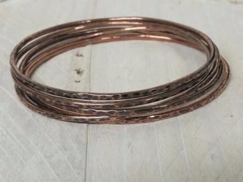 Bracelet - Copper - Slim Stacking Bangle set of 5