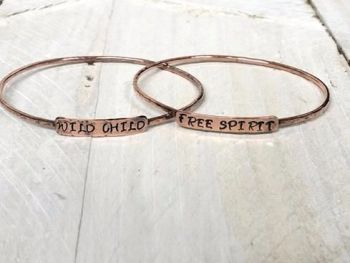 Bracelet - Copper -  Slim Personalised Bangle