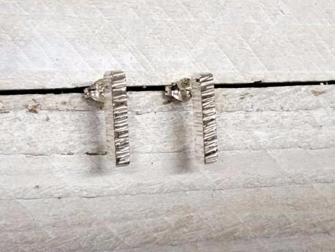 Sterling Silver Shimmer Textured Stud Earrings