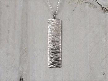Necklace - Sterling Silver - Slim Rectangle Shimmer Necklace