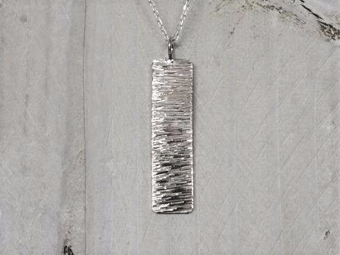 Sterling Silver Slim Rectangle Shimmer Necklace