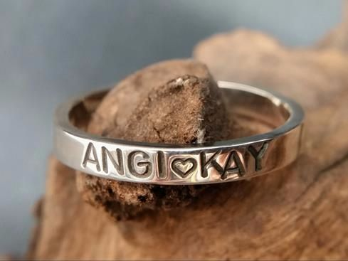 Sterling Silver Personalised Slim Ring