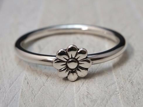 Sterling Silver Flower Stacker Ring