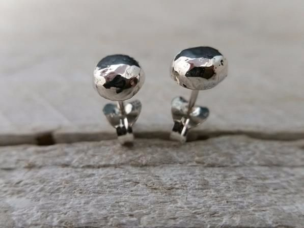 Sterling Silver Hammered Organic Ball Stud Earrings