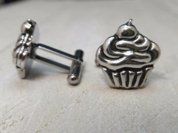Cufflinks - Pewter - Cupcake