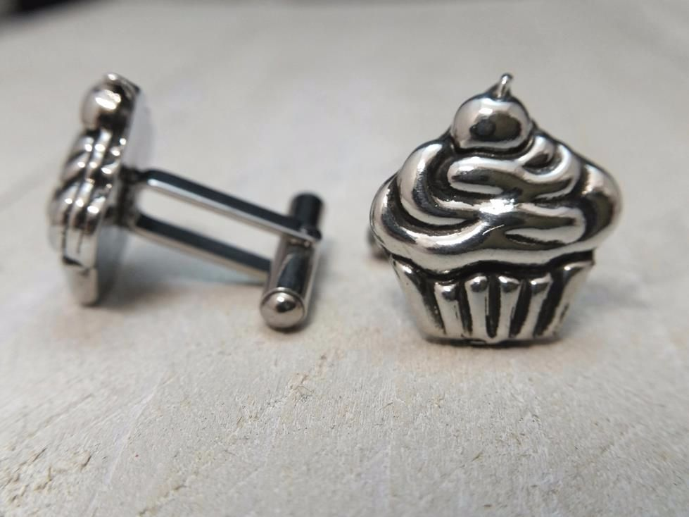 Pewter Cupcake Cufflinks