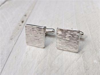 Cufflinks - Sterling Silver - Textured Square Cufflinks