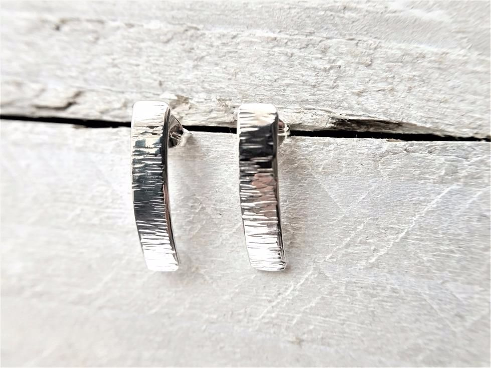 Sterling Silver Shimmer Textured Curve Stud Earrings
