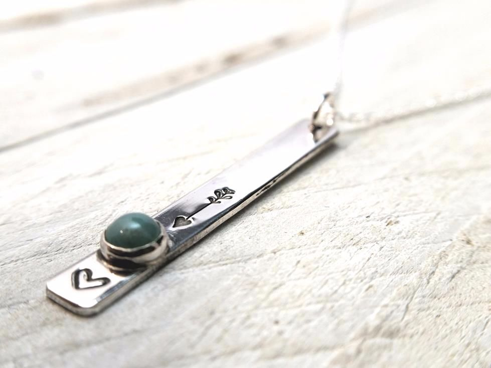 Sterling Silver Necklace - Slim Dropper Necklace with Turquoise Stone