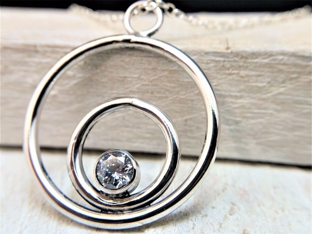 Sterling Silver Necklace - Sparking Circles Necklace