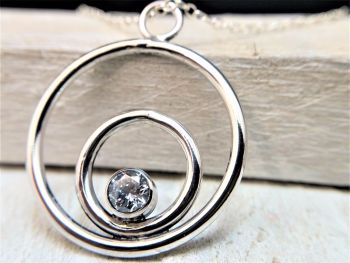 Necklace - Sterling Silver - Sparking Circles Cubic Zirconia Necklace