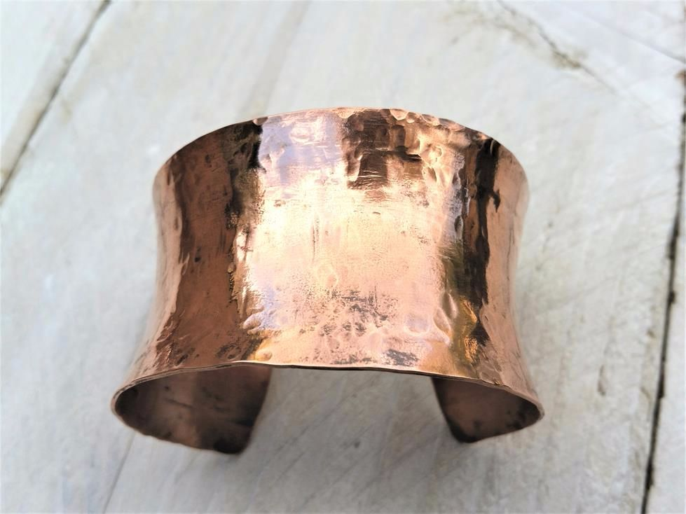 Wide Lace Textured Copper Cuff