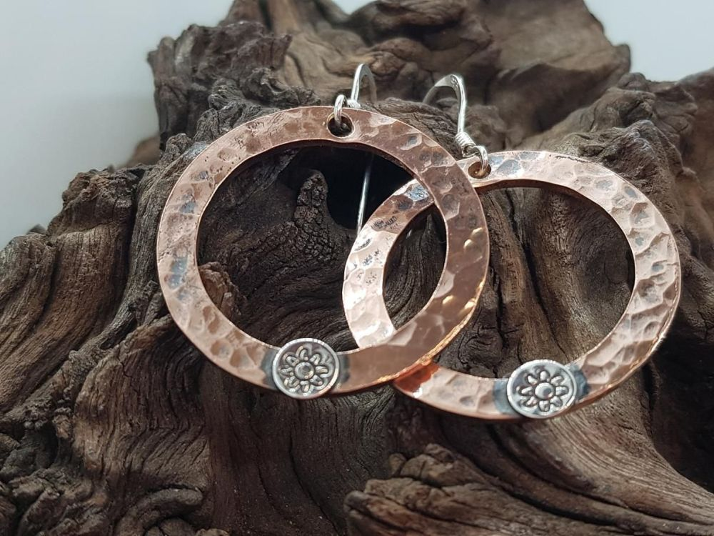 Copper Earrings - Copper Washer Earrings with Sterling Silver Flower Detail