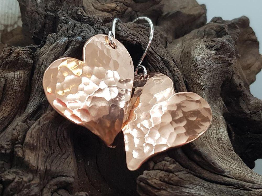 Copper Earrings - Hammered Whimsy Heart Earrings