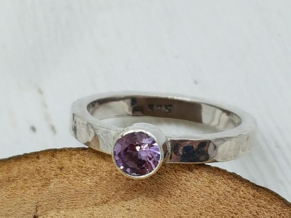 Sterling Silver Ring - Square Stacker Ring with Alexandrite Stone
