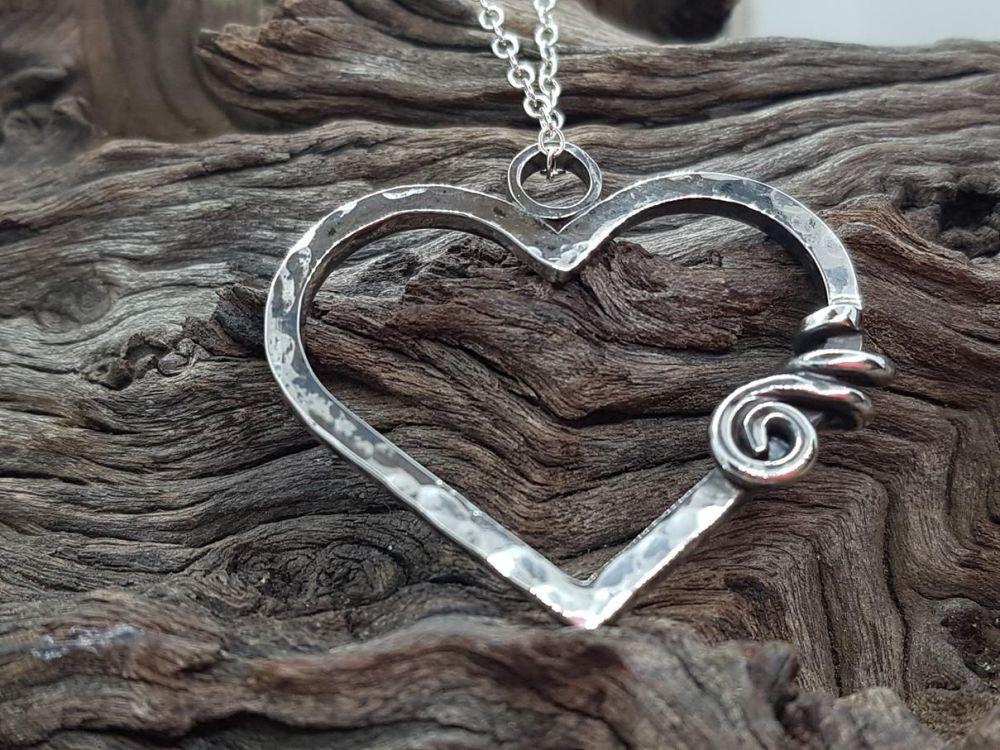 Sterling Silver Necklace - Hammered Heart Neckalce