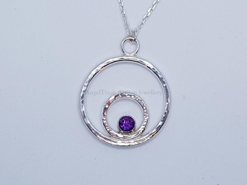 Sterling Silver Necklace - Sparking Circles Gemstone Necklace