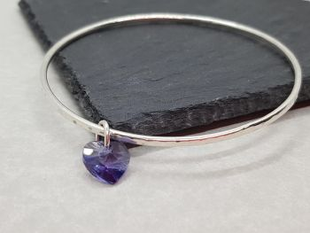 Bracelet - Sterling Silver - Slim Stacking Bangle with Swarovski Heart Charm