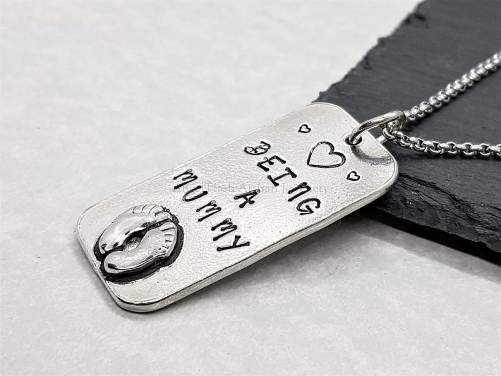 Pewter (Heart) Being a Mummy Pendant