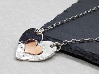 Necklace - Mixed Metal - Pewter & Copper - Two Hearts Pendant