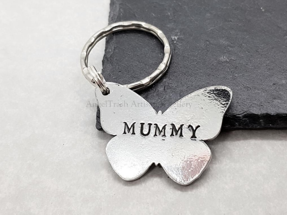 Pewter Butterfly Keyring - Mummy