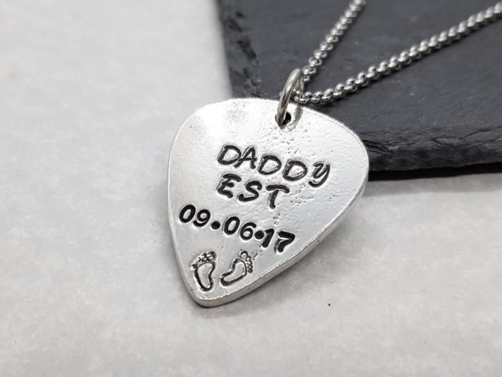 Pewter Daddy Guitar Pick Pendant - Choose Date