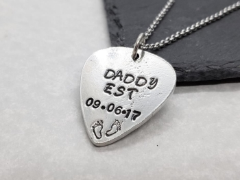 Necklace - Pewter - Daddy Guitar Pick Pendant - You Choose Date