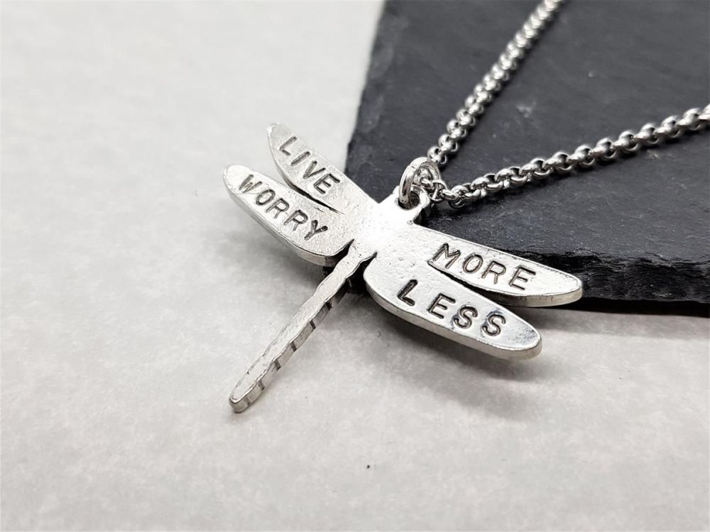 Pewter Dragonfly - Live More Worry Less
