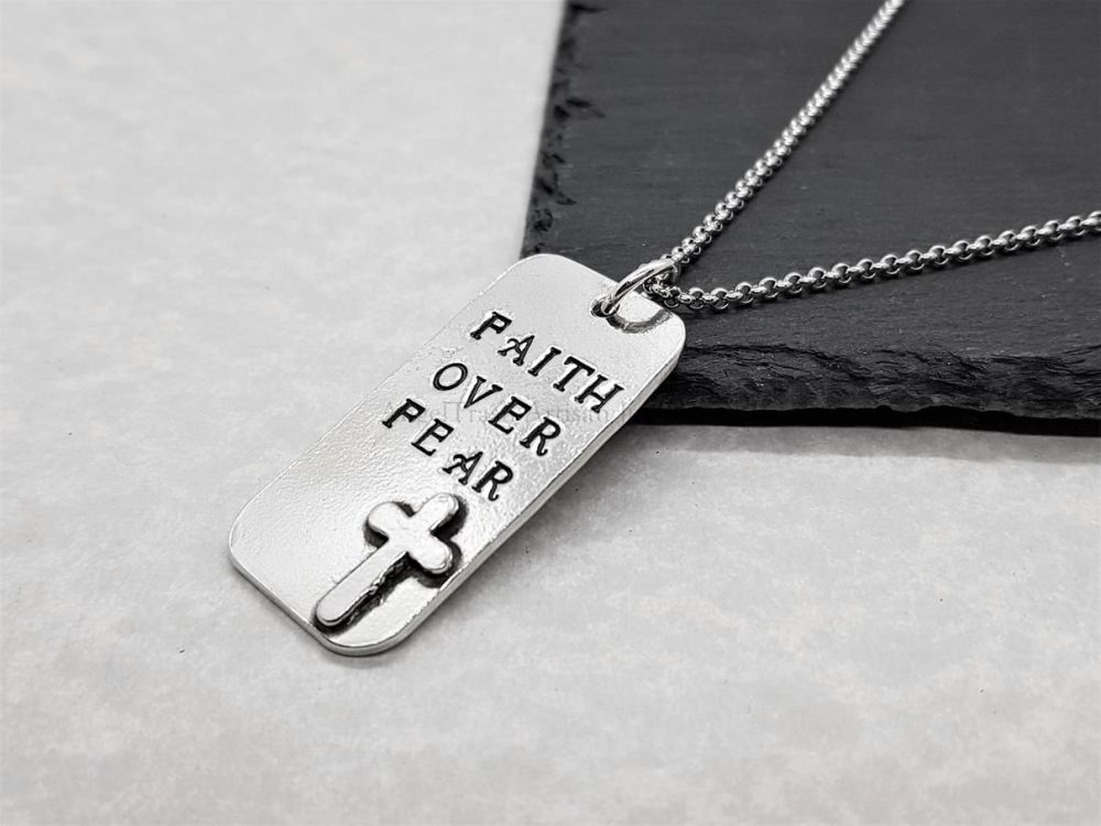 Pewter Faith Over Fear Pendant