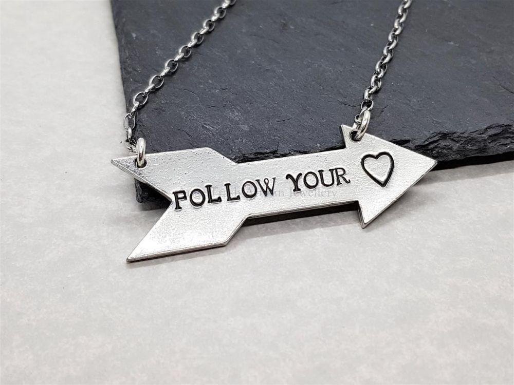 Pewter Follow Your Heart Arrow Pendant