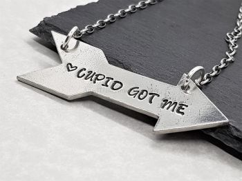 Necklace - Pewter - Cupid Got Me Arrow Necklace
