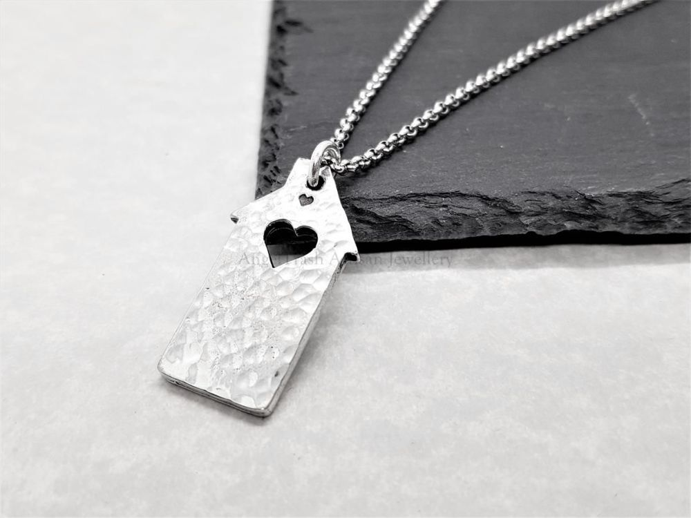 Pewter Hammered Dinky House with a Heart Pendant