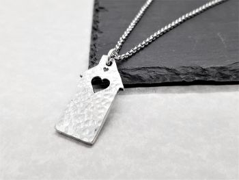 Necklace - Pewter - Hammered Dinky House with a Heart Pendant