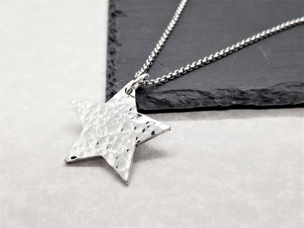Pewter Hammered Star Pendant
