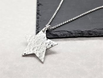 Necklace - Pewter - Hammered Star Pendant