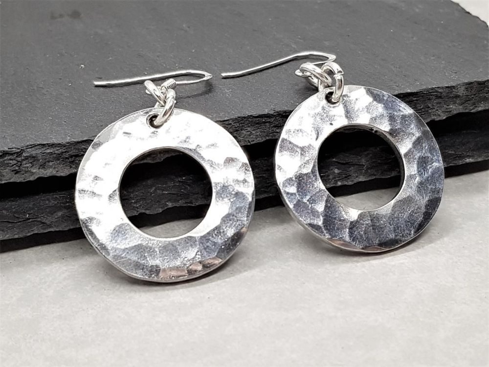 Pewter Hammered Circle Washer Earrings