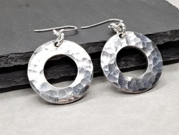 Earrings - Pewter - Hammered Circle Washer