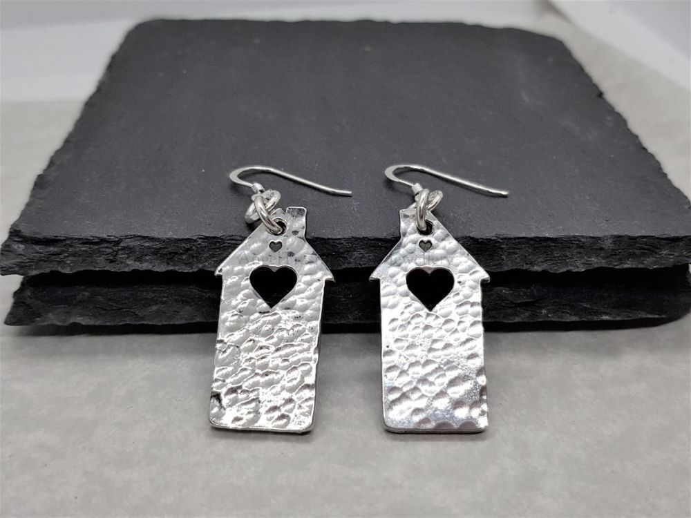 Pewter Hammered Dinky House With a Heart Earrings